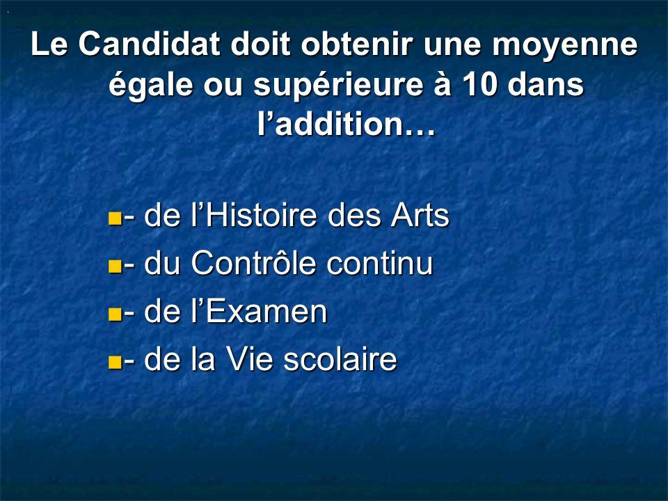 - de l'Histoire des Arts - du Contrôle continu - de l'Examen