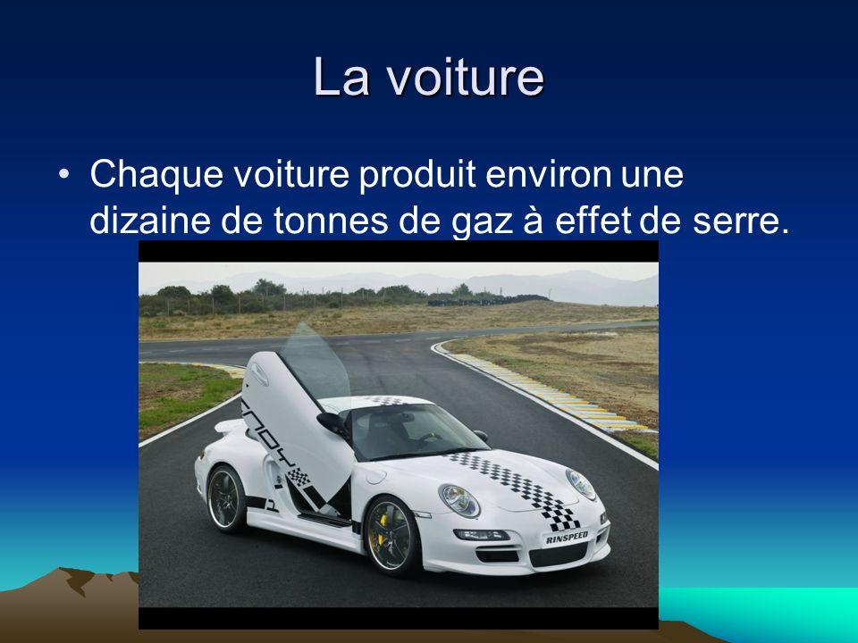La voiture Chaque voiture produit environ une dizaine de tonnes de gaz à effet de serre.