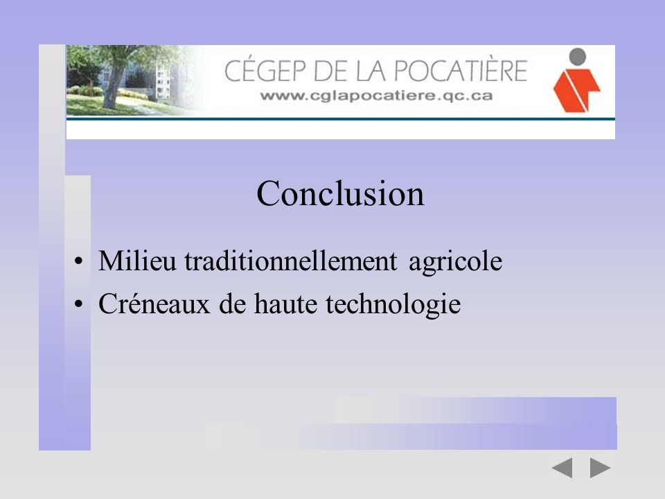 Conclusion Milieu traditionnellement agricole