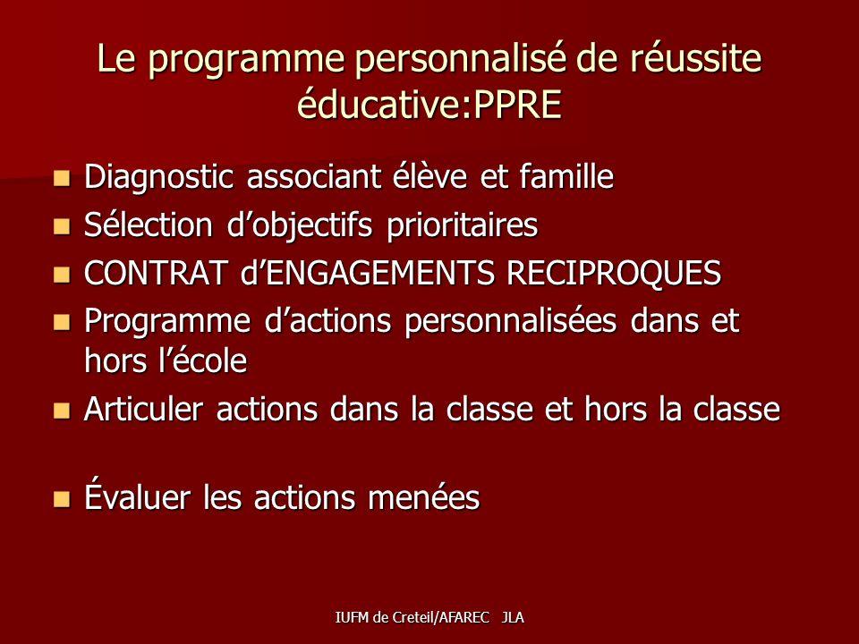 Le programme personnalisé de réussite éducative:PPRE