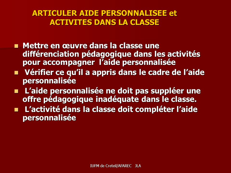 ARTICULER AIDE PERSONNALISEE et ACTIVITES DANS LA CLASSE