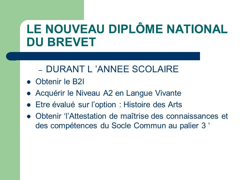 LE NOUVEAU DIPLÔME NATIONAL DU BREVET