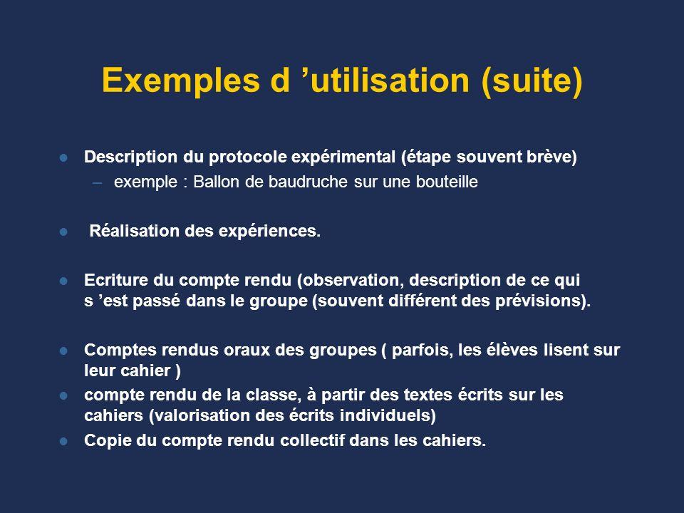 Exemples d 'utilisation (suite)