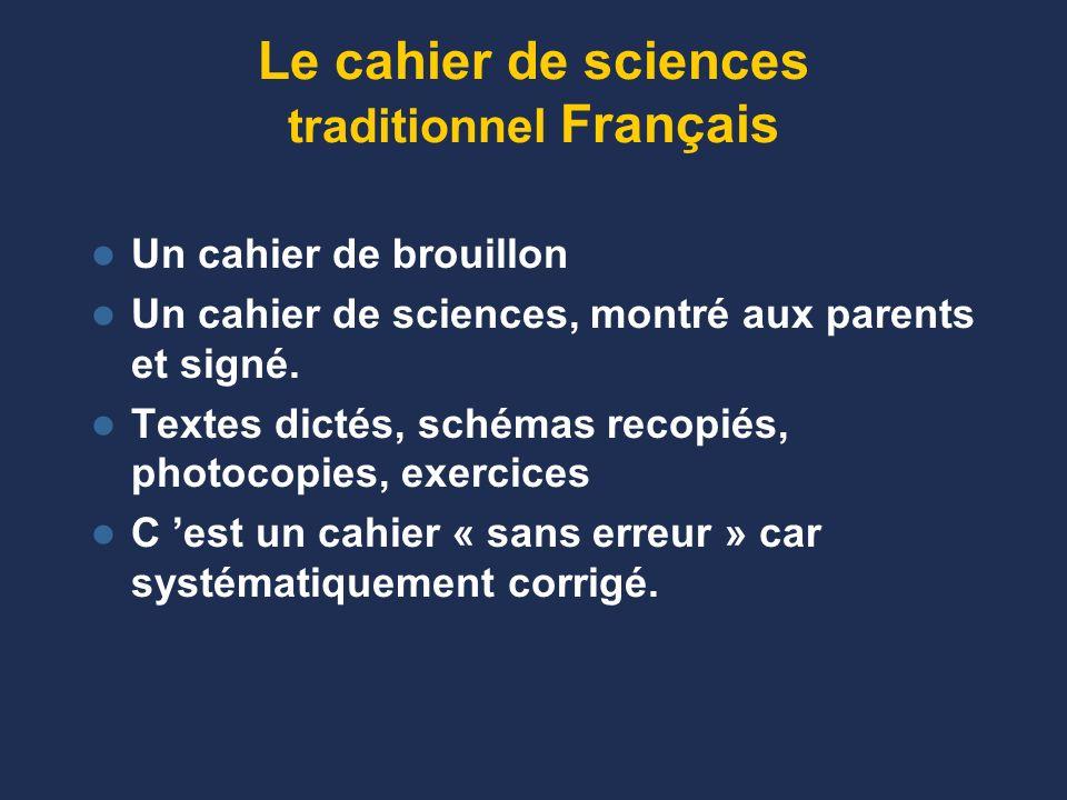 Le cahier de sciences traditionnel Français