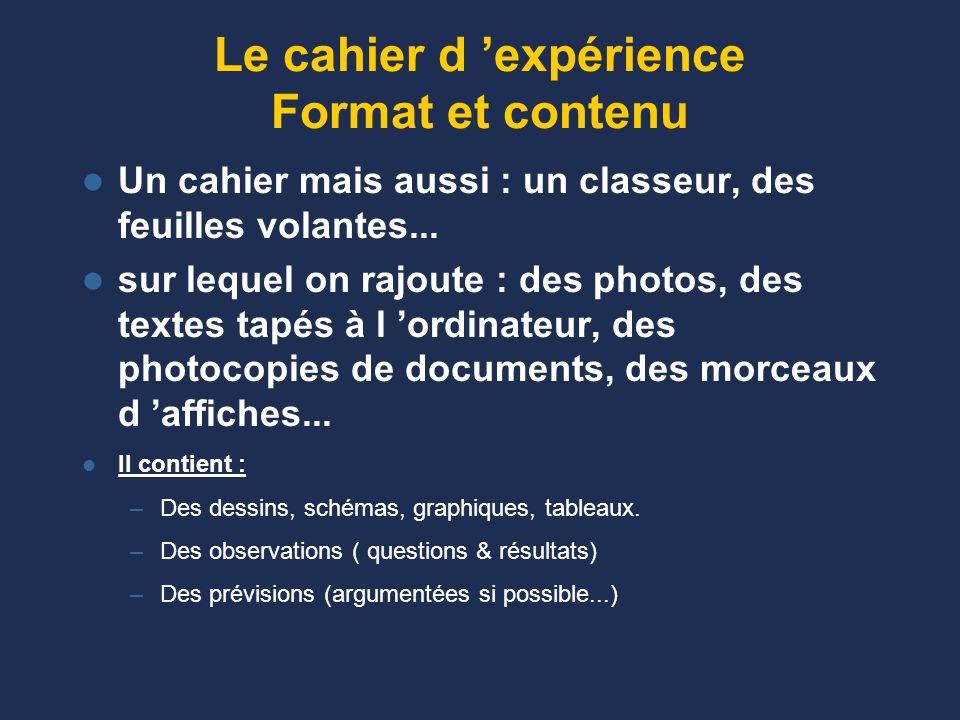 Le cahier d 'expérience Format et contenu