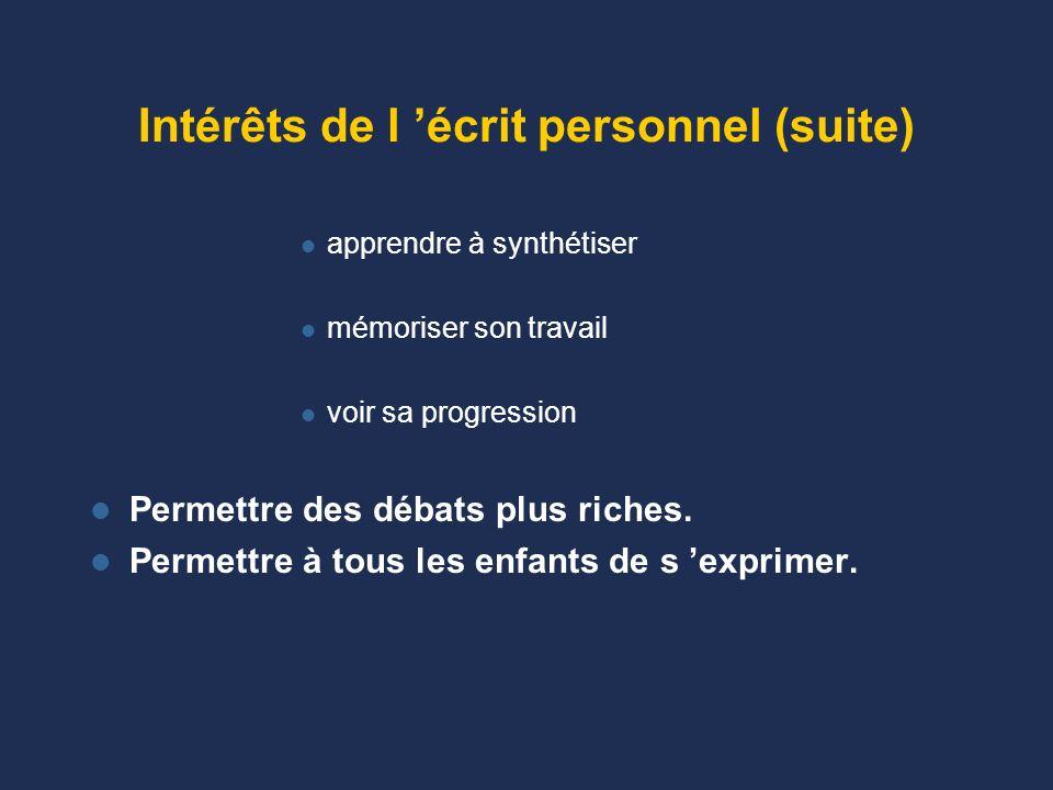 Intérêts de l 'écrit personnel (suite)