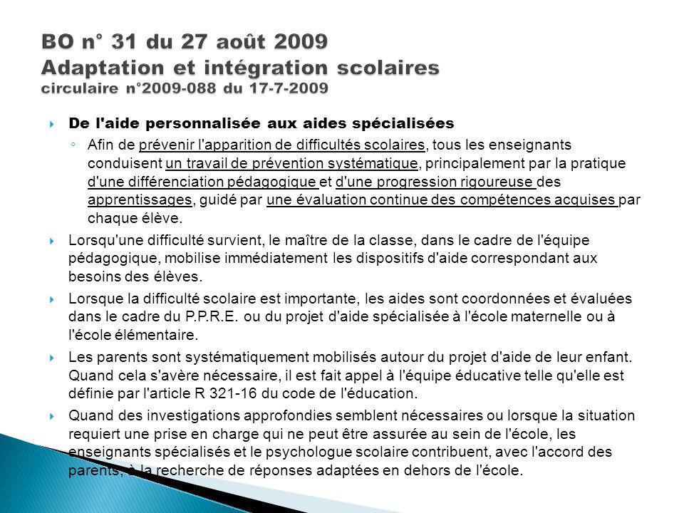 BO n° 31 du 27 août 2009 Adaptation et intégration scolaires circulaire n°2009-088 du 17-7-2009
