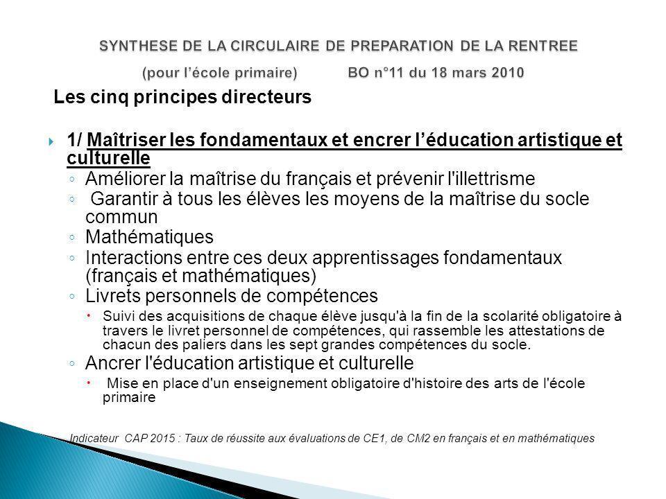 SYNTHESE DE LA CIRCULAIRE DE PREPARATION DE LA RENTREE (pour l'école primaire) BO n°11 du 18 mars 2010
