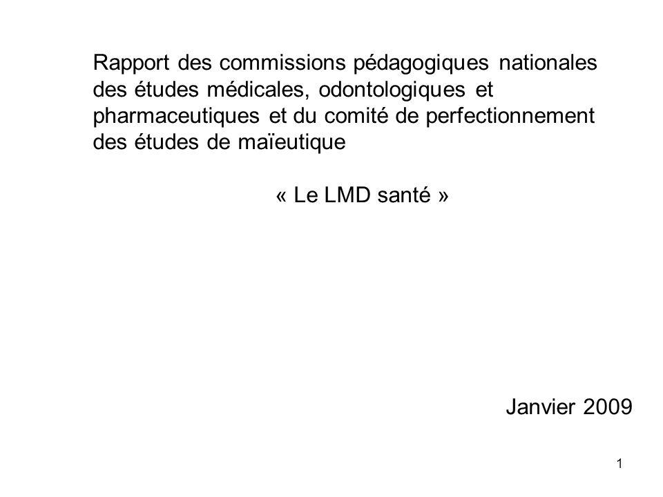 Rapport des commissions pédagogiques nationales des études médicales, odontologiques et pharmaceutiques et du comité de perfectionnement des études de maïeutique