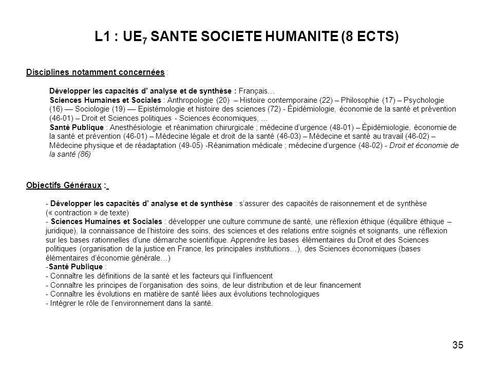 L1 : UE7 SANTE SOCIETE HUMANITE (8 ECTS)
