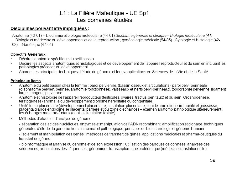 L1 : La Filière Maïeutique - UE Sp1 Les domaines étudiés