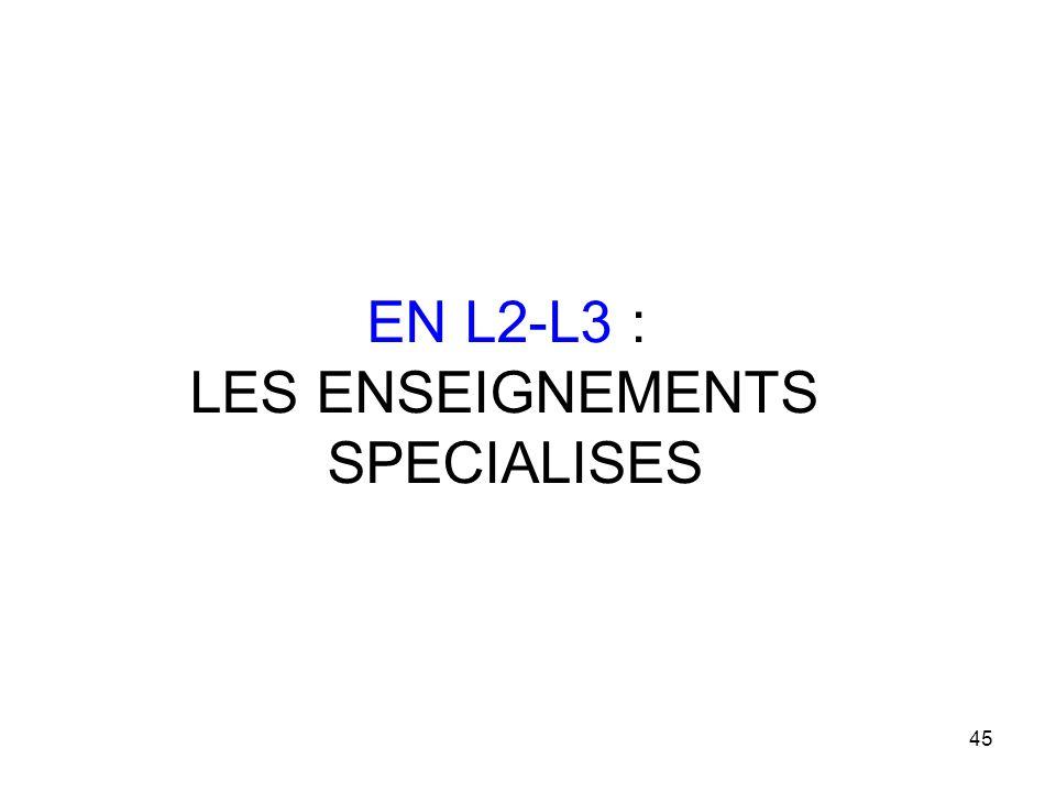 EN L2-L3 : LES ENSEIGNEMENTS SPECIALISES