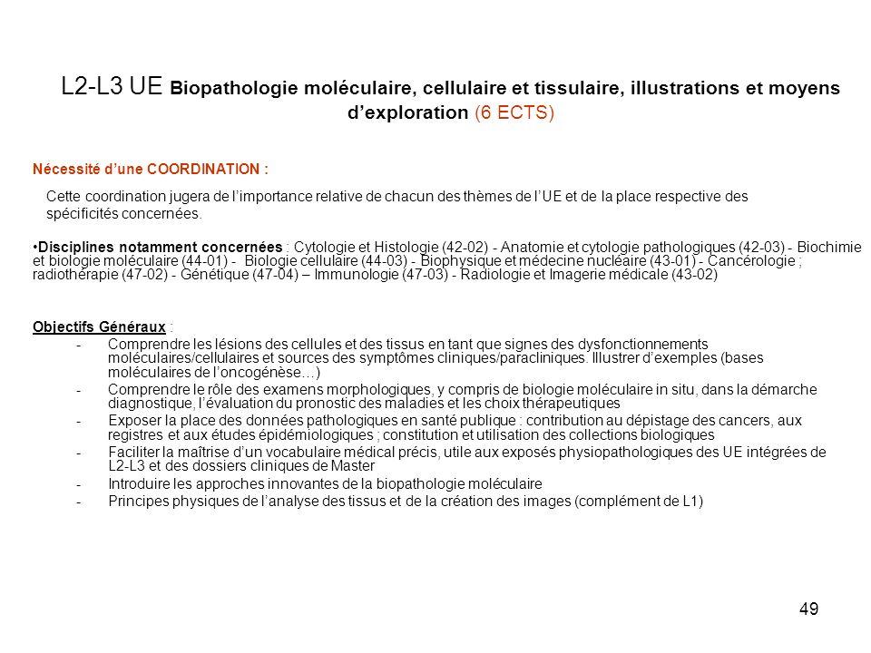 L2-L3 UE Biopathologie moléculaire, cellulaire et tissulaire, illustrations et moyens d'exploration (6 ECTS)