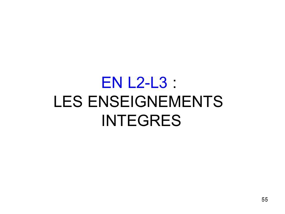 EN L2-L3 : LES ENSEIGNEMENTS INTEGRES