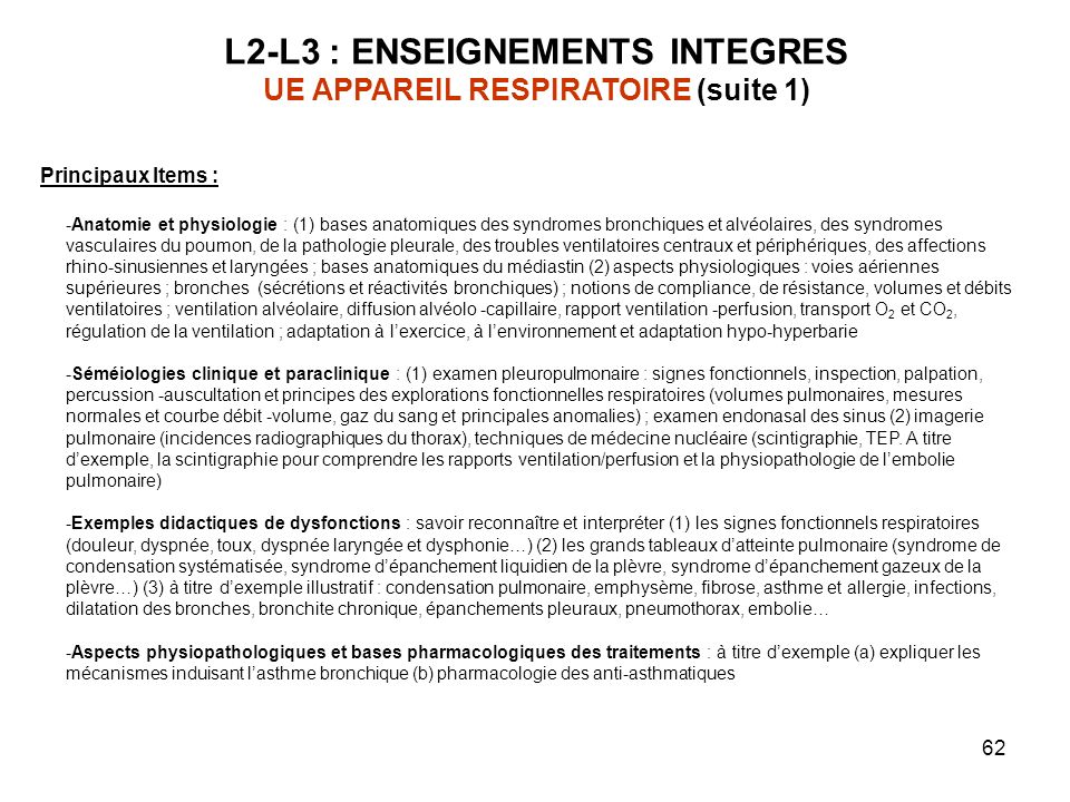 L2-L3 : ENSEIGNEMENTS INTEGRES UE APPAREIL RESPIRATOIRE (suite 1)