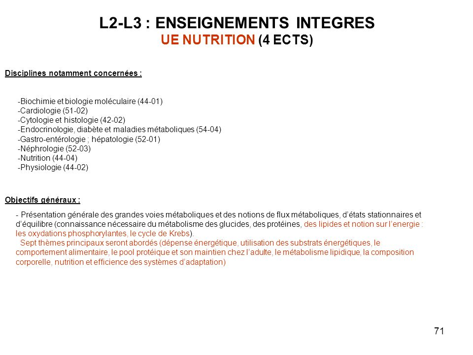 L2-L3 : ENSEIGNEMENTS INTEGRES UE NUTRITION (4 ECTS)