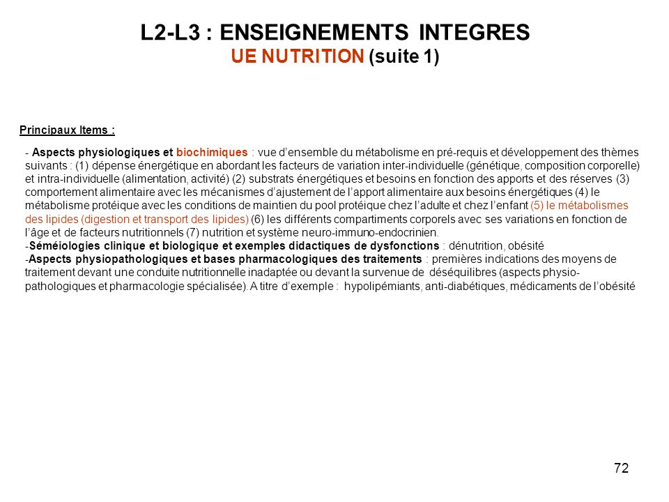L2-L3 : ENSEIGNEMENTS INTEGRES UE NUTRITION (suite 1)