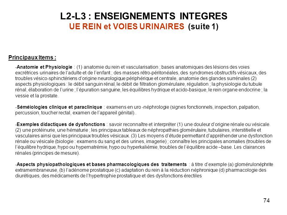 L2-L3 : ENSEIGNEMENTS INTEGRES UE REIN et VOIES URINAIRES (suite 1)