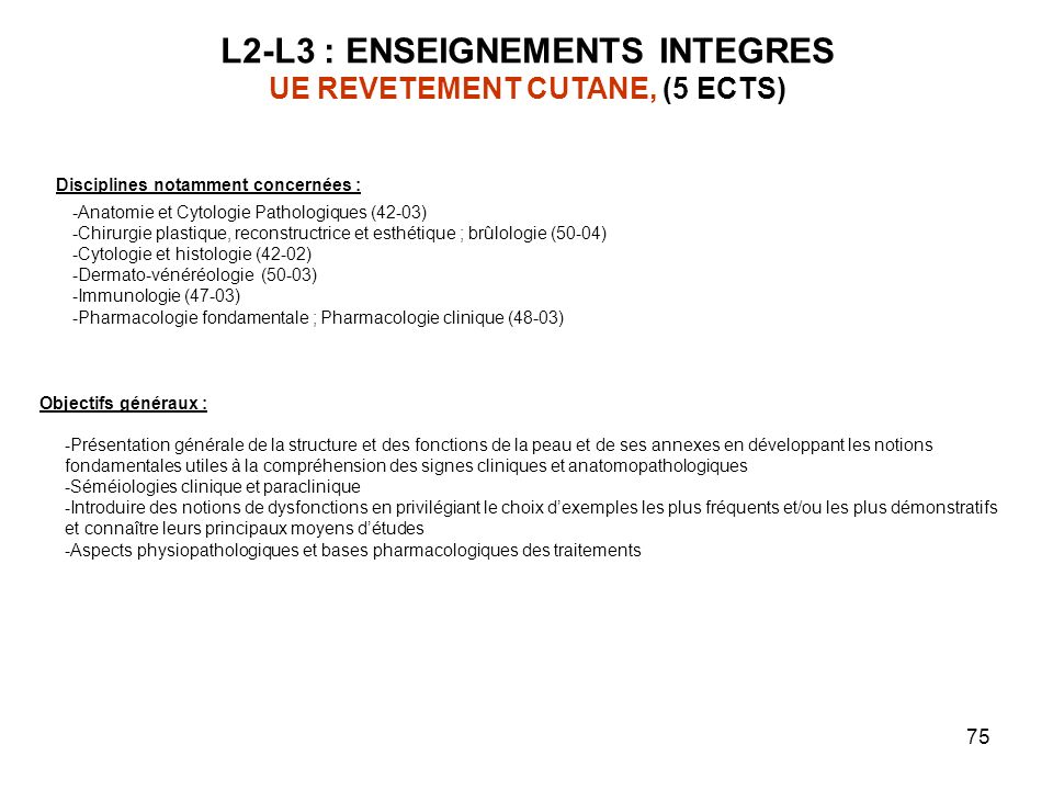 L2-L3 : ENSEIGNEMENTS INTEGRES UE REVETEMENT CUTANE, (5 ECTS)