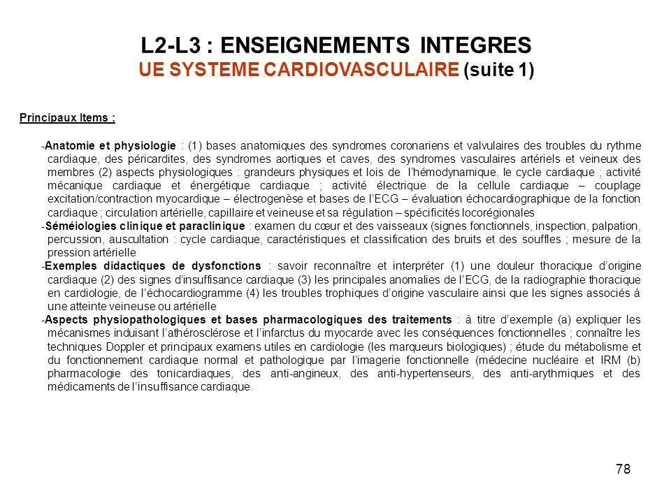 L2-L3 : ENSEIGNEMENTS INTEGRES UE SYSTEME CARDIOVASCULAIRE (suite 1)