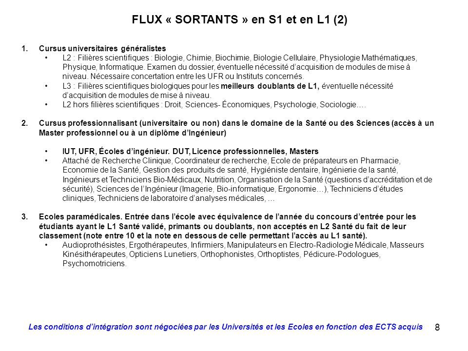 FLUX « SORTANTS » en S1 et en L1 (2)