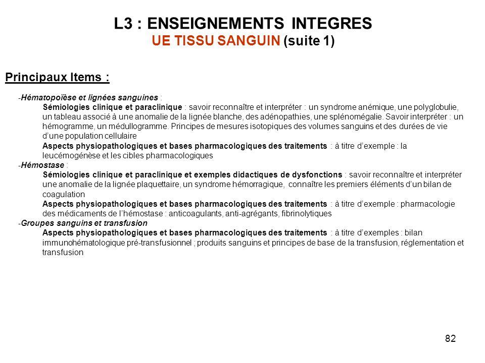 L3 : ENSEIGNEMENTS INTEGRES UE TISSU SANGUIN (suite 1)