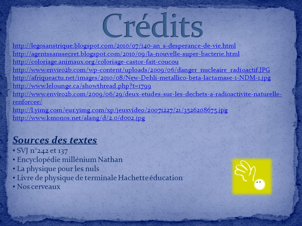 Crédits Sources des textes SVJ n°242 et 137