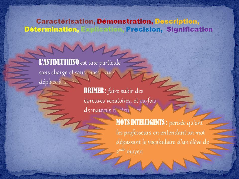 Caractérisation, Démonstration, Description,