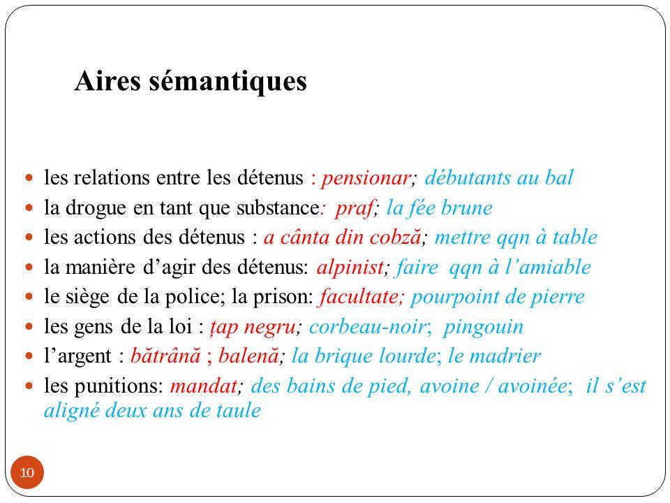 Aires sémantiques les relations entre les détenus : pensionar; débutants au bal. la drogue en tant que substance: praf; la fée brune.