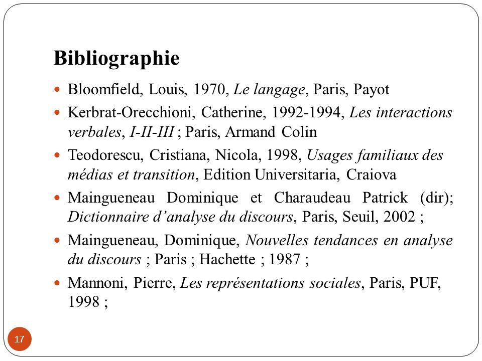 Bibliographie Bloomfield, Louis, 1970, Le langage, Paris, Payot