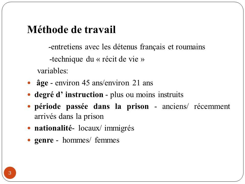 Méthode de travail -entretiens avec les détenus français et roumains