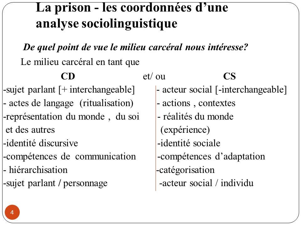 La prison - les coordonnées d'une analyse sociolinguistique