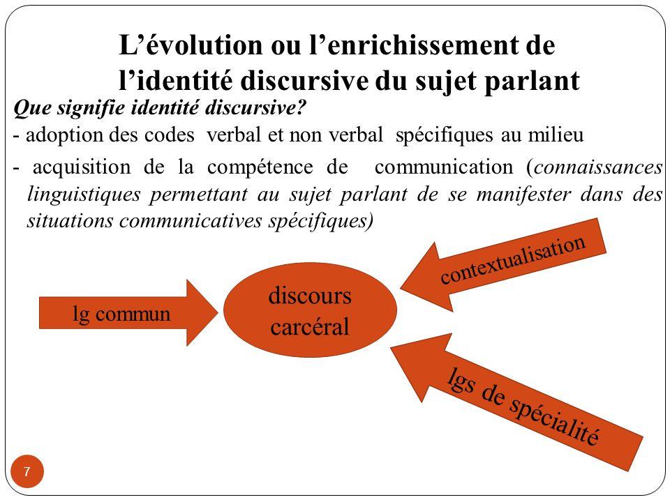 L'évolution ou l'enrichissement de l'identité discursive du sujet parlant
