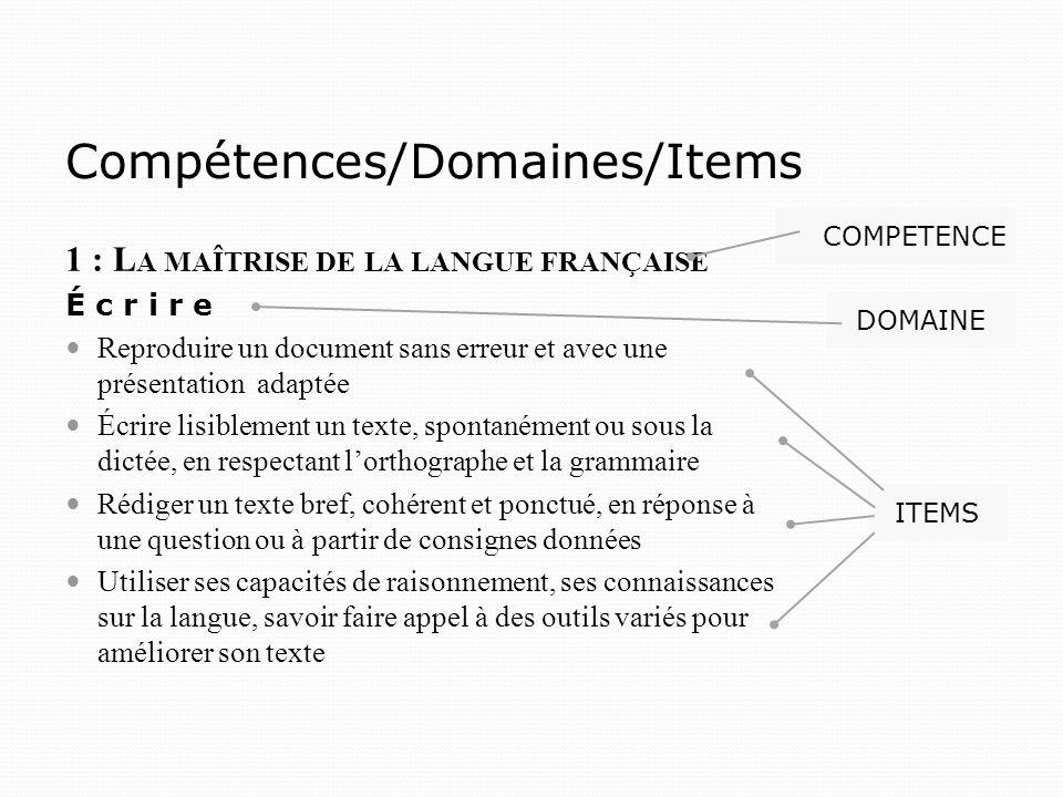 Compétences/Domaines/Items