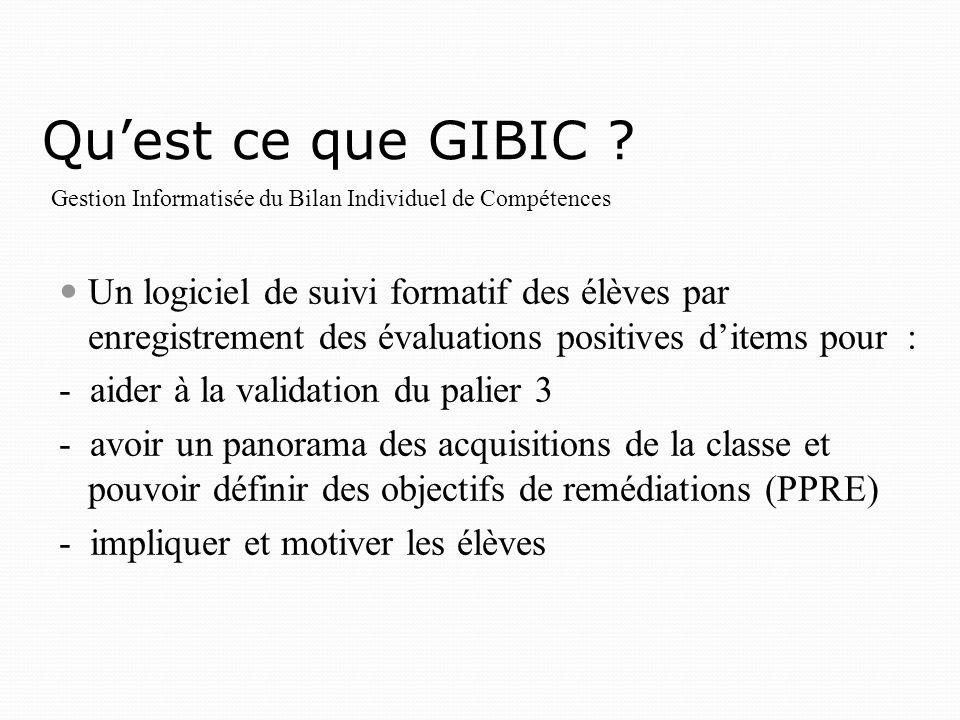 Qu'est ce que GIBIC Gestion Informatisée du Bilan Individuel de Compétences.