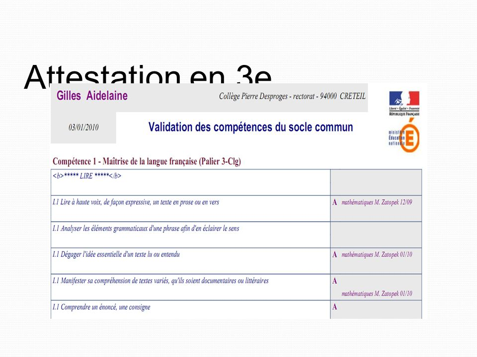 Attestation en 3e