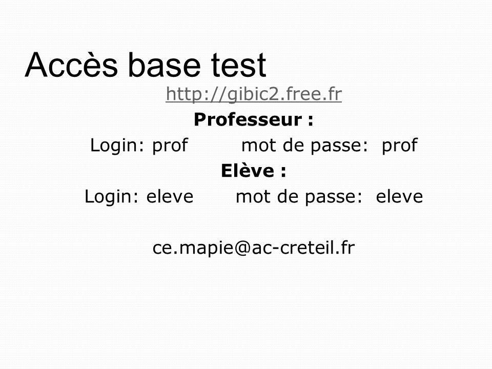 Accès base test http://gibic2.free.fr Professeur :