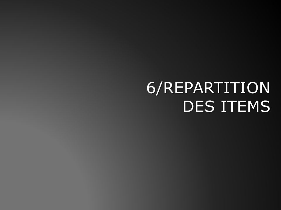 6/REPARTITION DES ITEMS