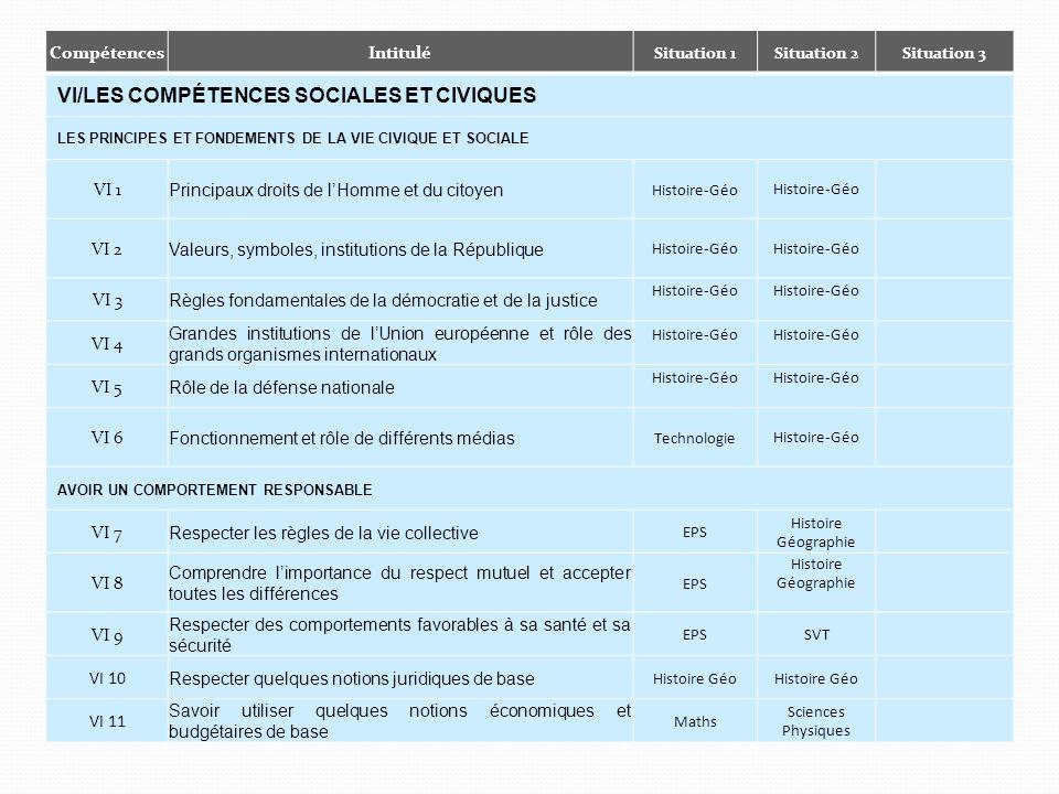 VI/Les compétences sociales et civiques
