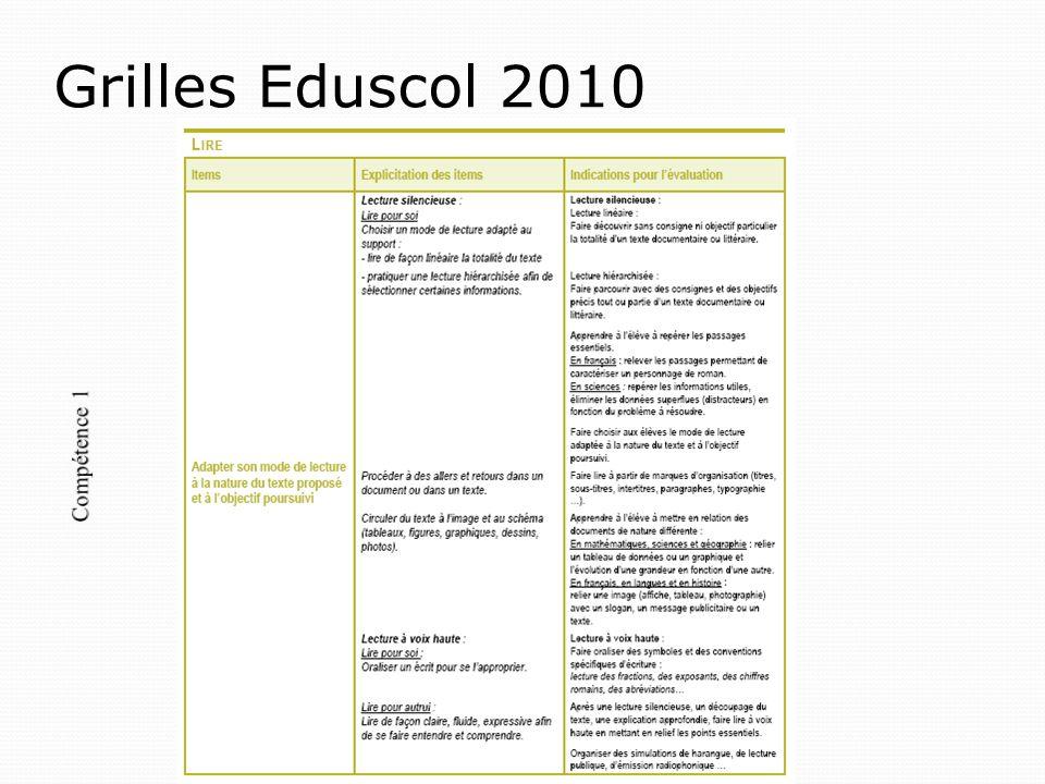 Grilles Eduscol 2010 Compétence 1