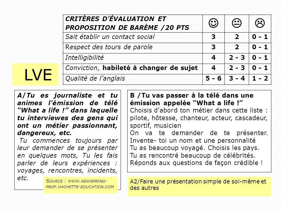 LVE    Critères d'évaluation et proposition de barème /20 pTS