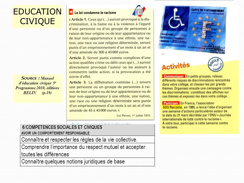 EDUCATIONCIVIQUE Source : Manuel d'éducation civique 5e Programme 2010, éditions BELIN (p.19)