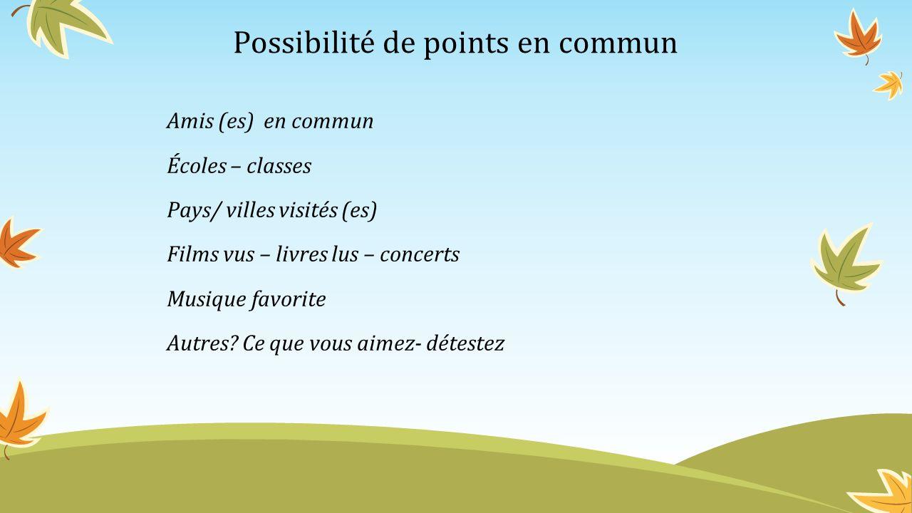 Possibilité de points en commun