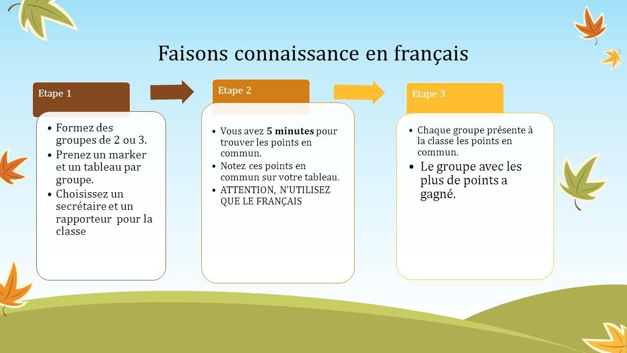 Faisons connaissance en français