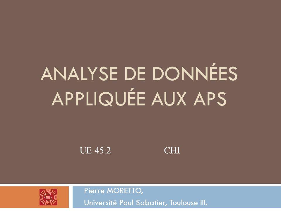 Analyse de données appliquée aux APS