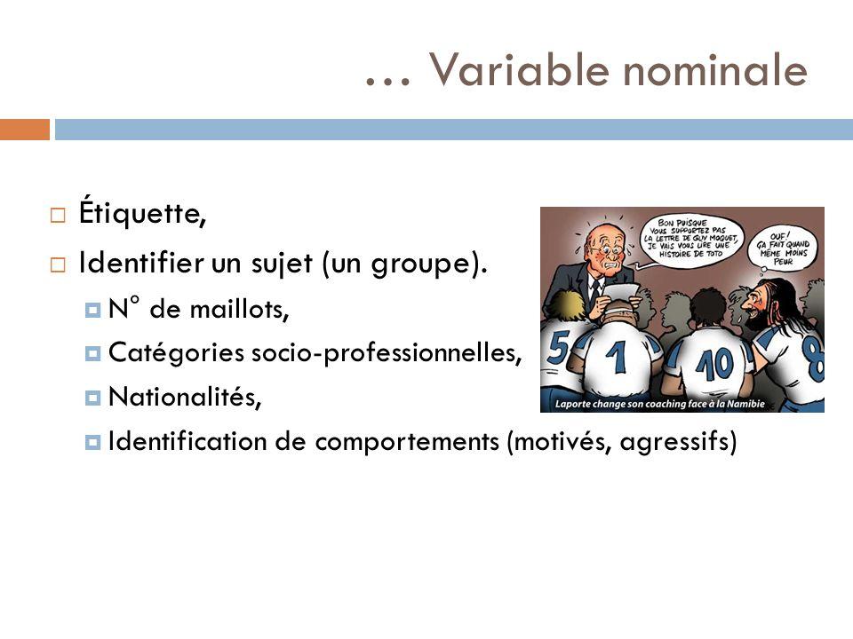 … Variable nominale Étiquette, Identifier un sujet (un groupe).