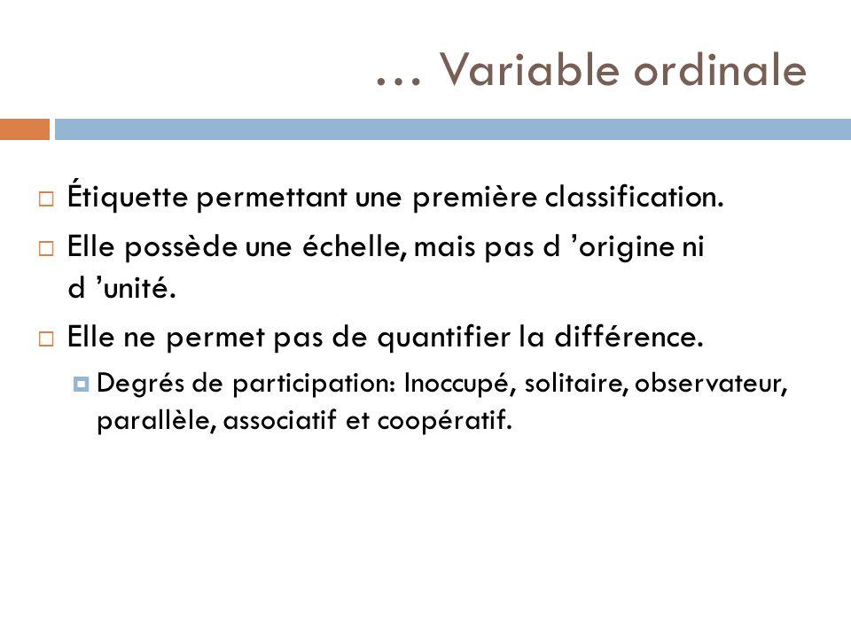 … Variable ordinale Étiquette permettant une première classification.