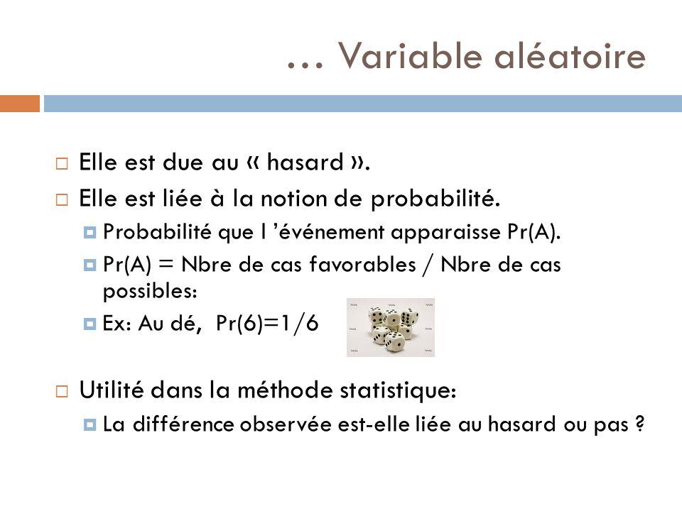 … Variable aléatoire Elle est due au « hasard ».
