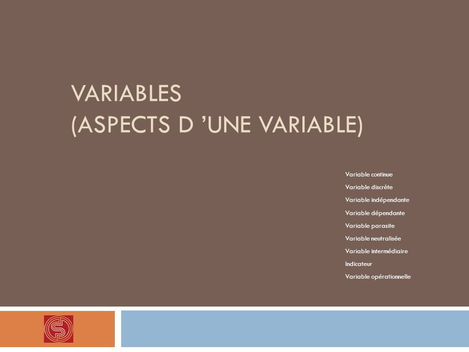 Variables (Aspects d 'une variable)