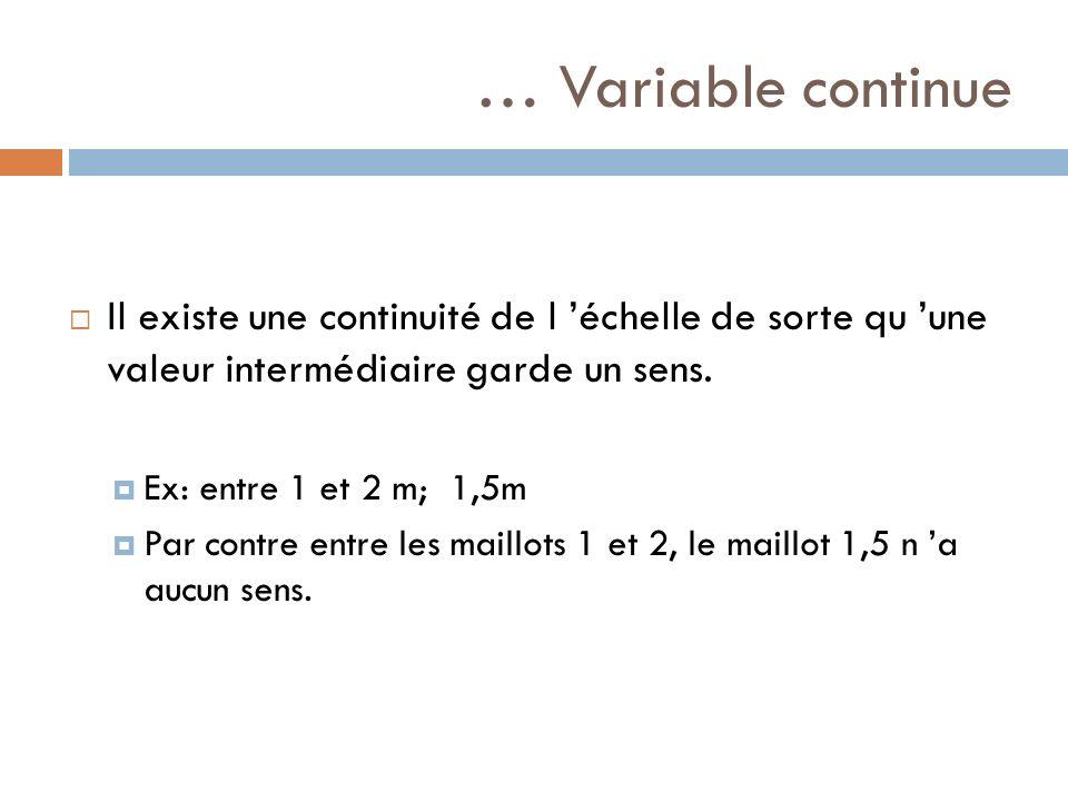… Variable continue Il existe une continuité de l 'échelle de sorte qu 'une valeur intermédiaire garde un sens.